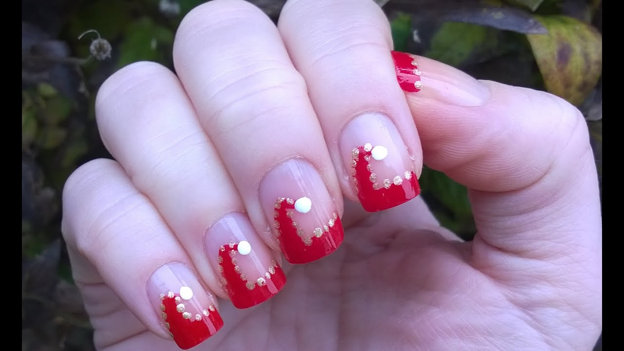 Christmas Nails Tutorial Santa Hat French Manicure Diy Nail Art