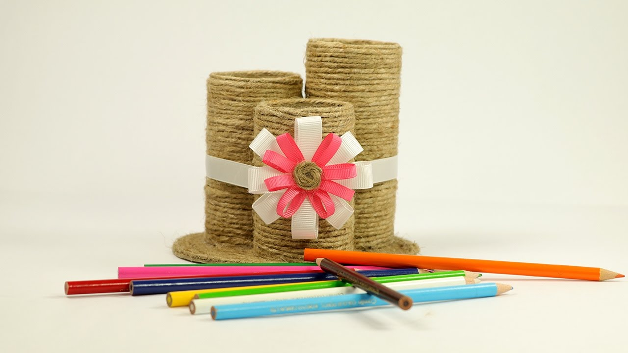 Waste material craft how to make a pencil pen holder for Creative products from waste materials