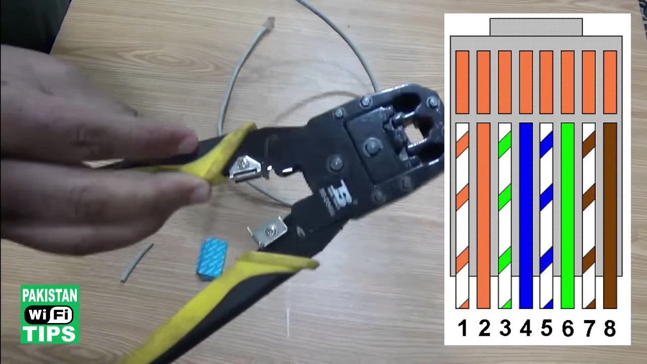 how to fix and make internet cable and rj45 cable connector hindi urdu  [ 1280 x 720 Pixel ]