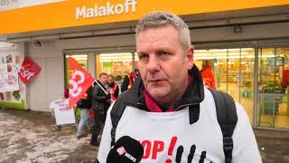 Action devant un Carrefour contre le plan Bompard (9 février 2018, Malakoff, France)