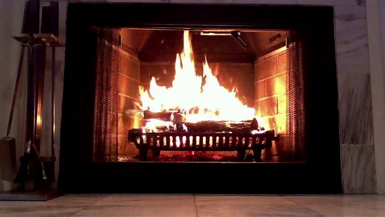 Gorgeous Marble Wood Burning Fireplace - Yule Log video ...
