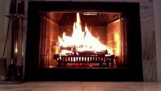 Gorgeous Marble Wood Burning Fireplace - Yule Log Video