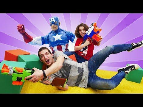Нерф стреляки с супергероями - Вызов брошен! - Игры для мальчиков с Капитаном Америка.