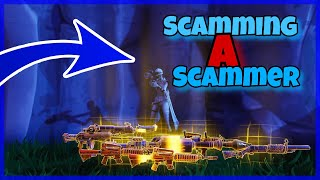 Scamming A Scammer For A LEGACY Vindertech Blaster! Scammer Gets Scammed! Fortnite Save The World!