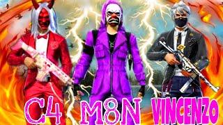 C4 gaming vs M8N vs Vincenzo || Top Dangerous Player of Free Fire