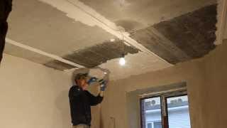 видео Выравнивание потолка гипсовой смесью
