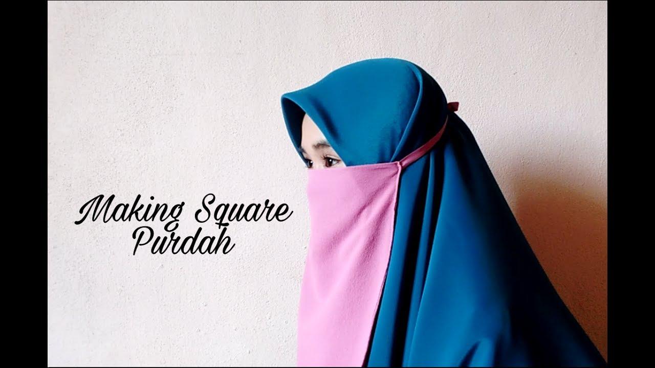 cara menjahit purdah petak how to make a square purdah youtube