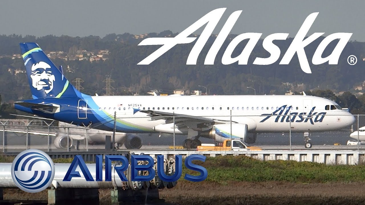 Download HD First Alaska Airlines Airbus A320-214 N625VA Takeoff from San Francisco International Airport
