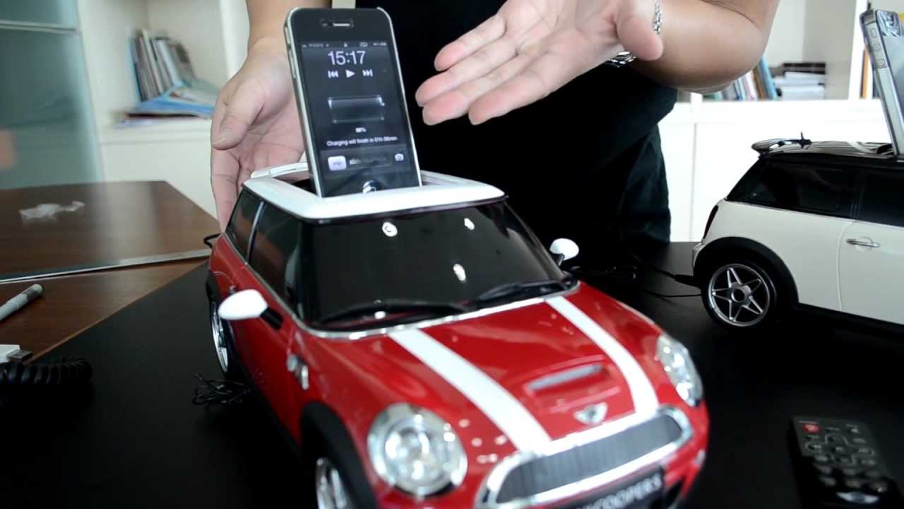 mini cooper shape docking speakers for ipod and iphone. Black Bedroom Furniture Sets. Home Design Ideas