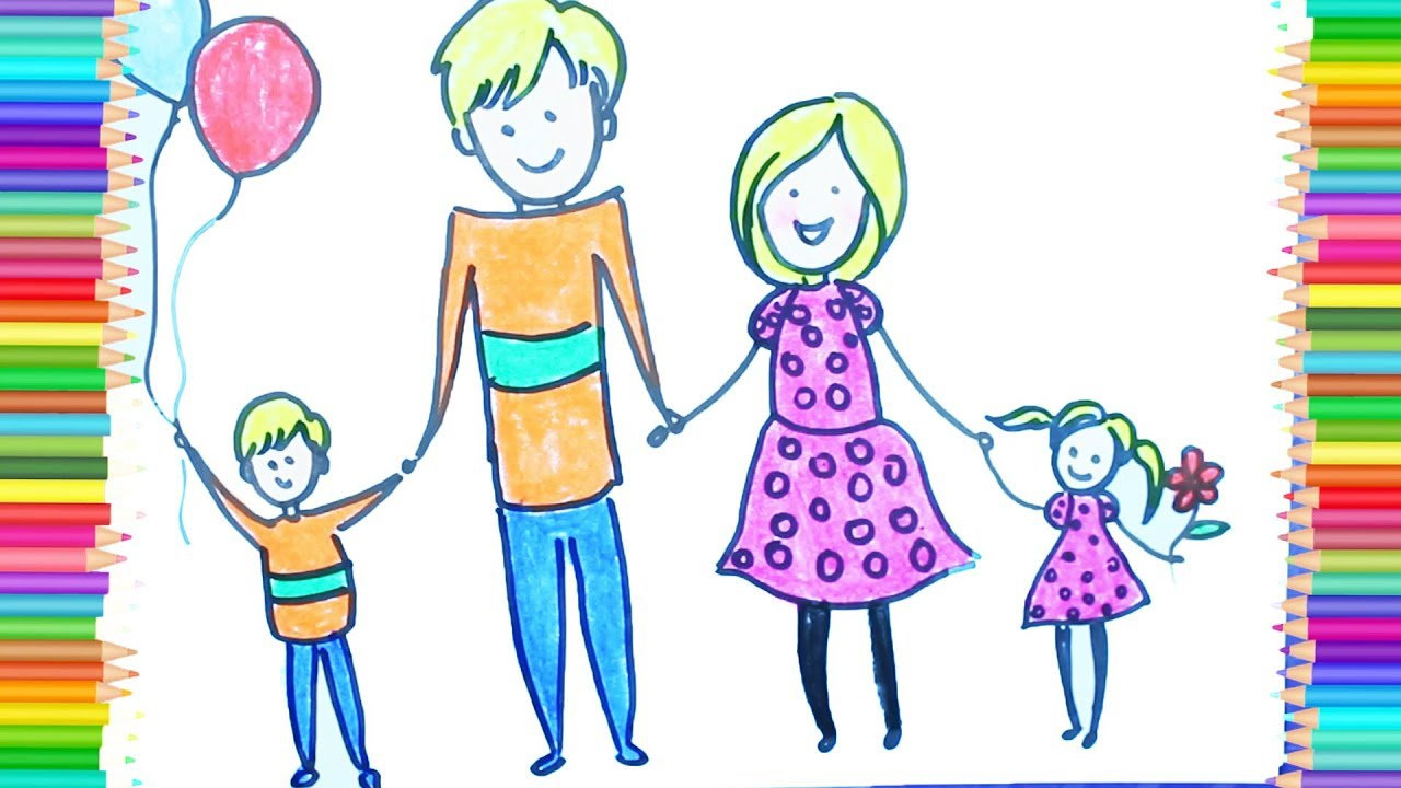 How to Make Healthy Family Drawing, Learn Color For Kid ...