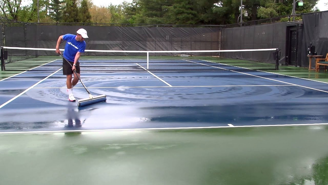 How To Roll Dry A Tennis Court Youtube