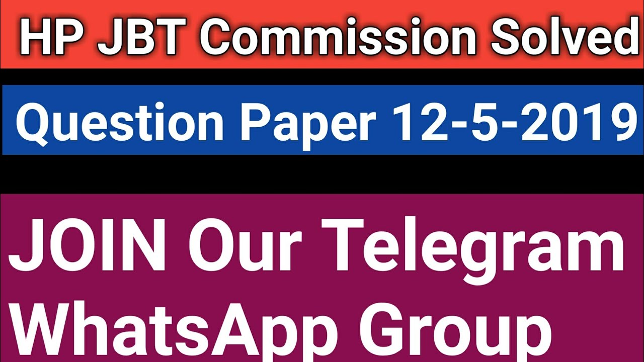 HP JBT Commission answer key solved question paper,Exam held on 12-05-2019