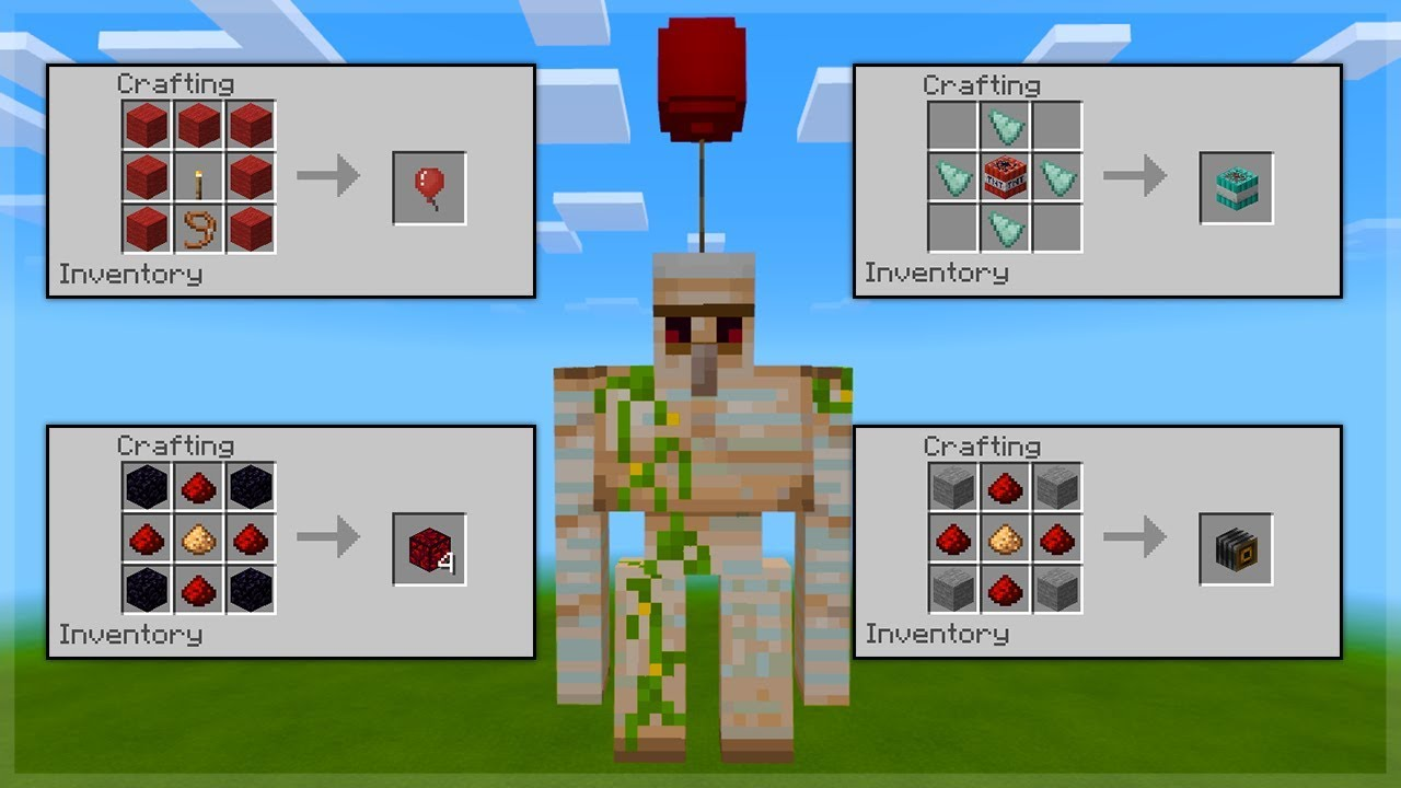 How to craft Balloons, Ice Bombs, Glowing Obsidian in Minecraft Bedrock  Survival (Addons)