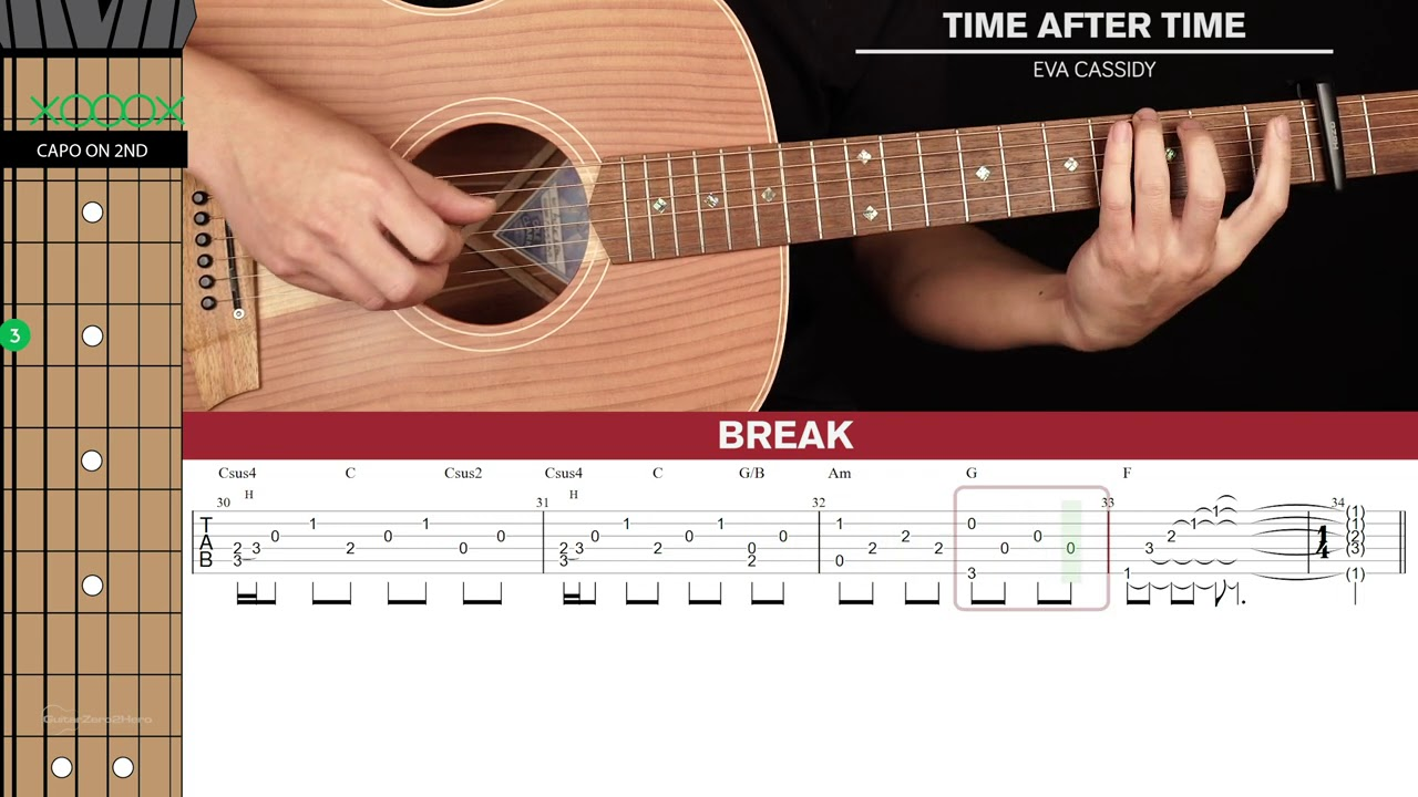 Time After Time Guitar Cover Eva Cassidy 🎸 Tabs + Chords