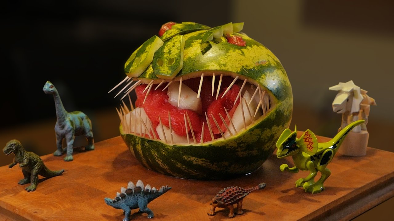 How to carve a T-Rex dinosaur out of a watermelon! 😬 - YouTube