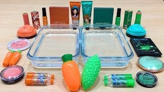 Carrot vs Bitter Melon ! Mixing Makeup Eyeshadow into Clear Slime ! Satisfying Slime Videos #526