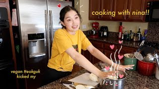 making vegan tteokguk (떡국) | cooking with nina