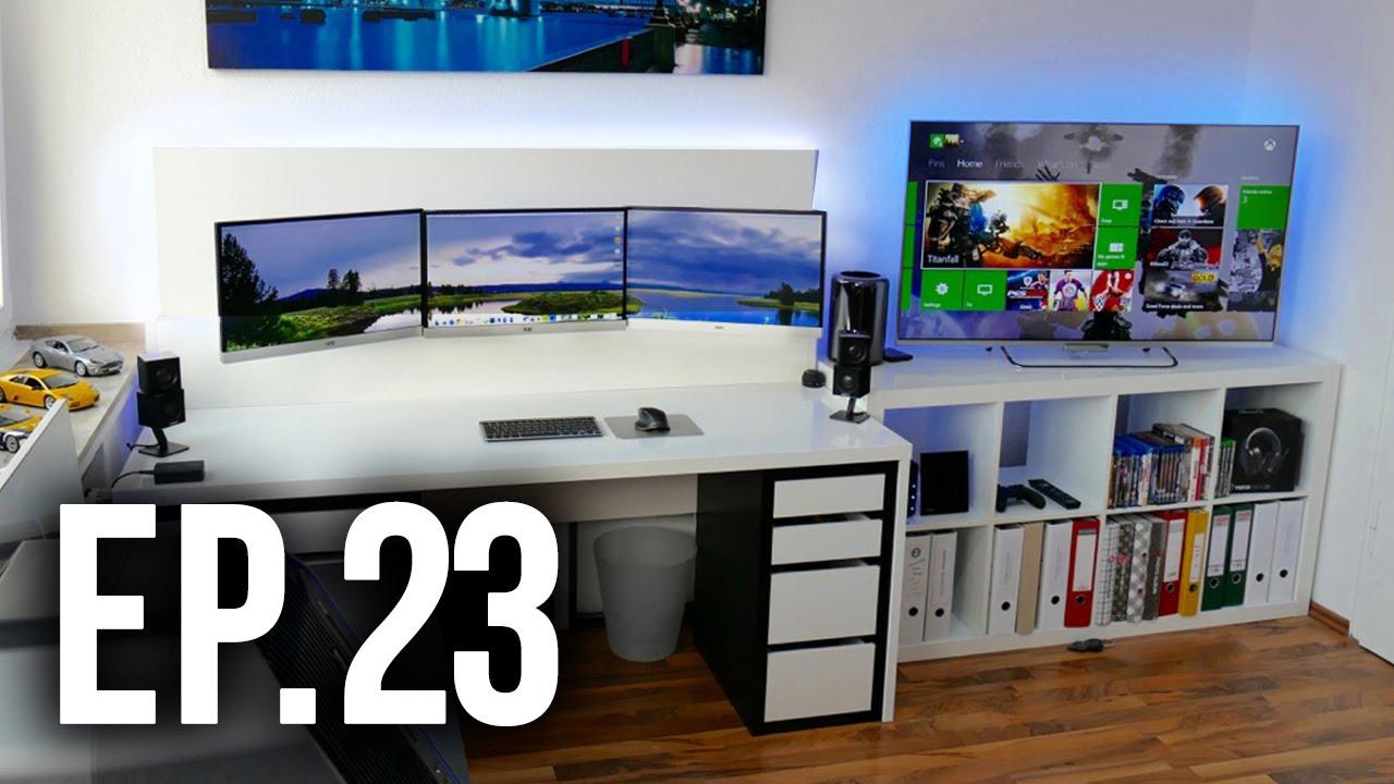 Best Living Room Setup Grey Colour Scheme Ideas Tour Project 23 Ft. Techcentury - Gaming Setups ...