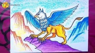 Vẽ quái vật sư tử đầu chim Griffin