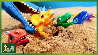 Let's rescue the Dino Mecard in the ground! Jurassic World Dinosaur Toy VideosㅣJefeToy