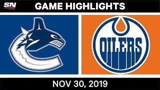 NHL Highlights   Canucks vs. Oilers - Nov. 30, 2019