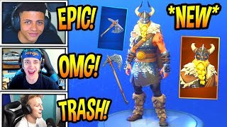 "STREAMERS REACT TO *NEW* ""MAGNUS"" VIKING SKIN! + FOREBEARER AXE *LEGENDARY* Fortnite FUNNY Moments"