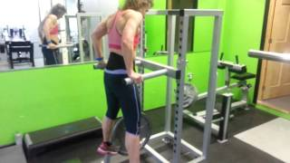 45lb weighted Dips 8 reps female client