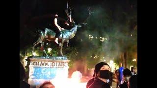 Aftermath of Portland elk statue attack by antifa