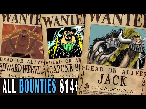 All Bounties updated to chapter 814+ in ONE PIECE