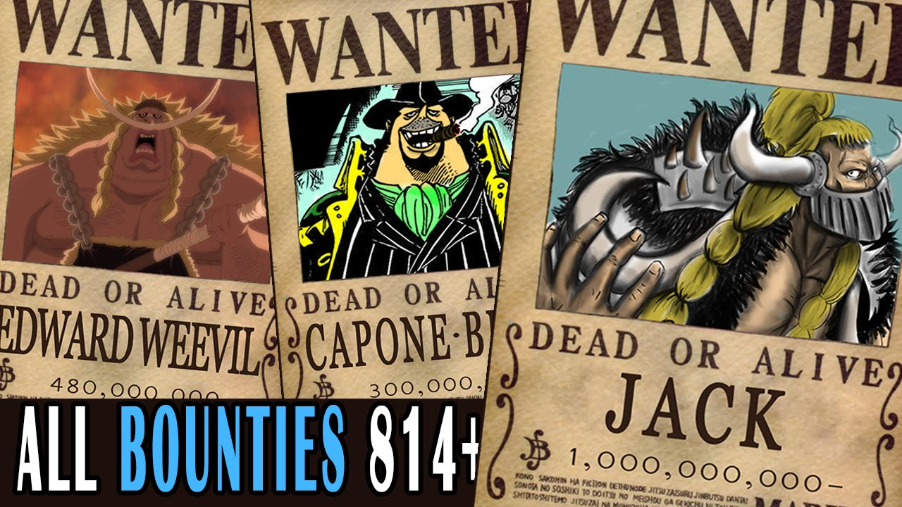 all bounties updated to chapter 814 in one piece youtube