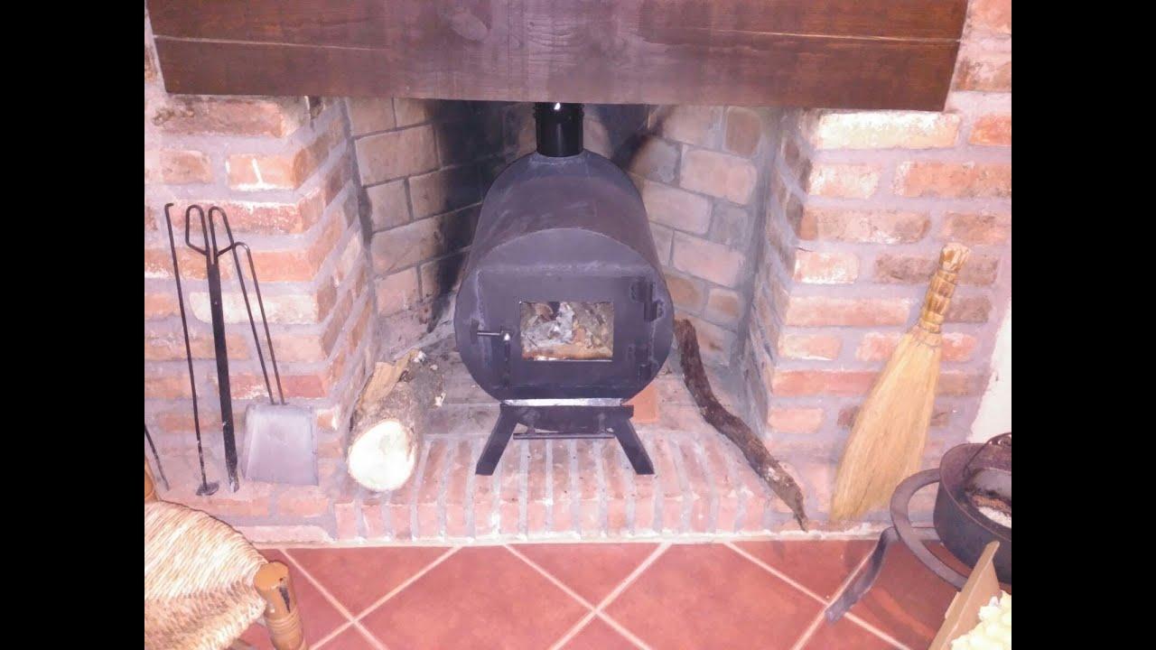 Como hacer una estufa de le a casera para el hueco de una chimenea parte 1 2 youtube - Como colocar una chimenea de lena ...
