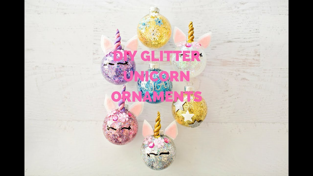 diy glitter unicorn ornaments - Unicorn Christmas Decorations