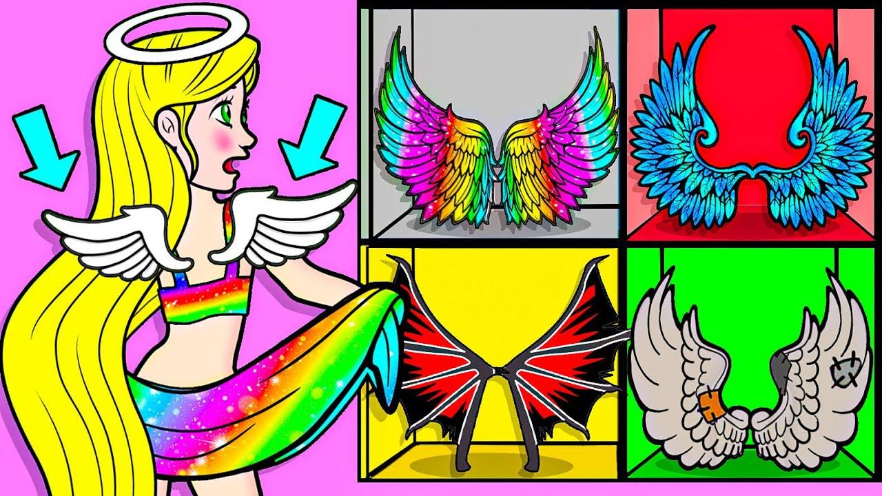 Download Paper Dolls Dress Up - Daughter Rapunzel vs Angel Wings Dress - Barbie Story & Crafts