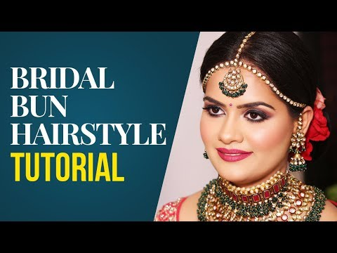 Bridal Bun Hairstyle Tutorial | Indian Bridal Hairstyle | Bun Updo Tutorial | Krushhh By Konica thumbnail
