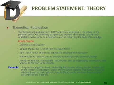 dissertation problem statements Some might view such information as being of lesser importance, considering all the various tasks that a dissertation requires in fact, the problem statement serves a critical foundational role for all research what value is a study that uses the most advanced research methodology, such as structural equation modeling, but.