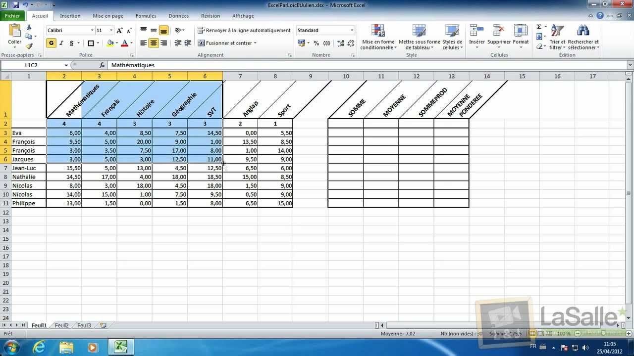 sc 051 microsoft excel 2010 calculs de sommes et de moyennes youtube. Black Bedroom Furniture Sets. Home Design Ideas