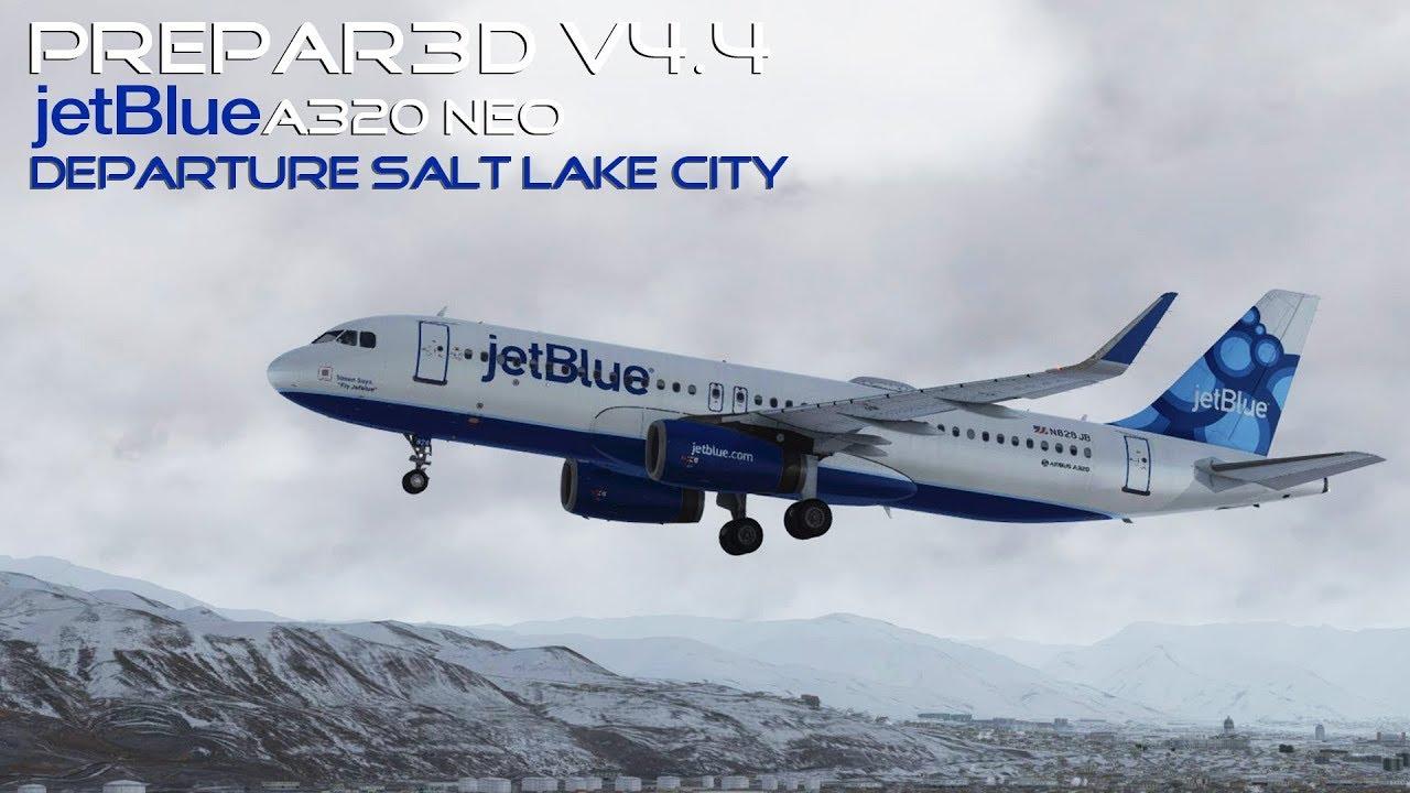 [P3Dv4 4] jetBlue | Snow Storm | Airbus A320 | Salt Lake City Departure