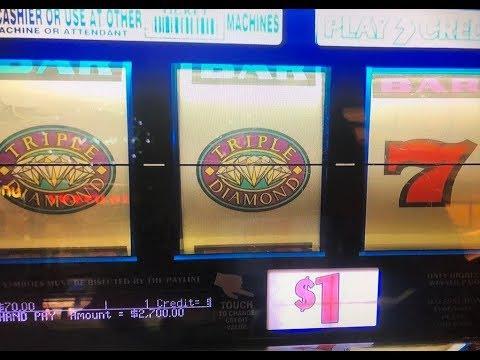 JACKPOT★Triple Diamond Dollar Slot Machine Max Bet $3 Hand Pay at San Manuel Casino CA, Akafuji slot - 동영상