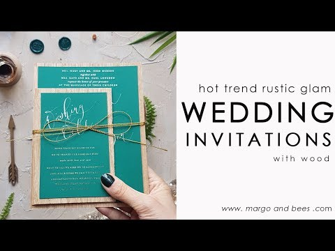 The best idea for  green wedding invitations - modern calligraphy and glam!