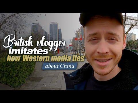 British vlogger imitates how Western media lies about China