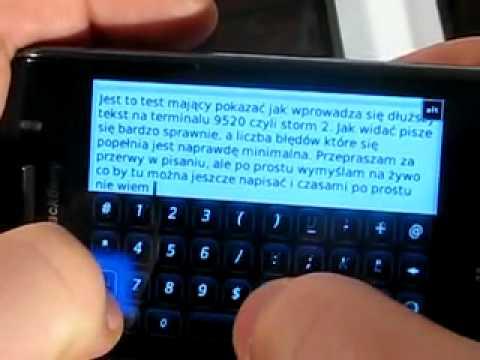 BlackBerry 9520 Storm 2 - prędkość pisania