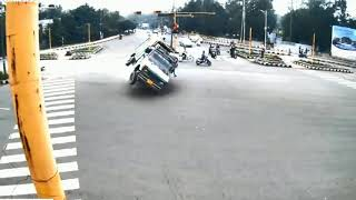 Dangers live road  accident cctv