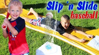Slip and Slide Water Baseball Ruined by BEES!!