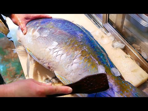 Japanese Street Food - GIANT BLUE BONE TUSKFISH Sashimi Okinawa Japan