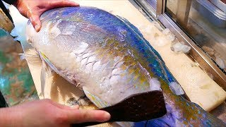 Japanese Street Food - GIANT TUSKFISH Sashimi Okinawa Japan