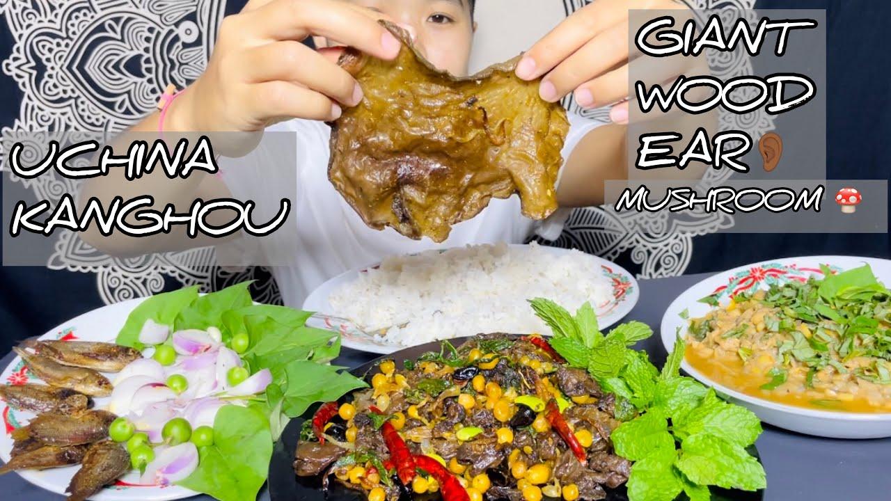 Typical Manipuri Wood Ear Mushroom stir fry, Spicy Banana stem chutney/Laphu Eromba | Meitei Mukbang