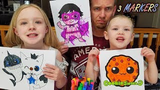 3 Marker Challenge YouTubers Edition #2 CookieSwirlC, PinkFong, Ryan ToysReview!!!