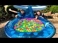 Kids play in the POOL with COLOR BALLS Kids Play Time  JoyJoy Lika