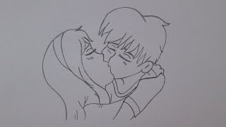 How to draw a boy and a girl kissing