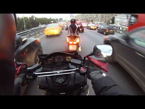 Honda Silver Wing in Moscow traffic